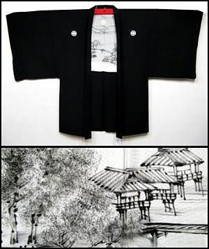 Simi-e (ink and wash) lining, men's haori