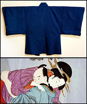 Another shunga (traditional Japanese erotic art) lining, men's haori