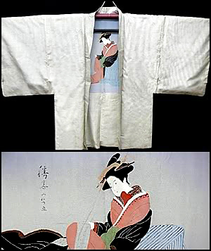 Woman with scroll lining, men's haori