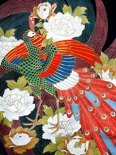 colourful peacock tomesode detail