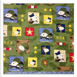 Hugs for Heroes Peanuts Snoopy Squares Green