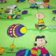 Peanuts Gang Easter Fabric Snoopy Colorful Eggs